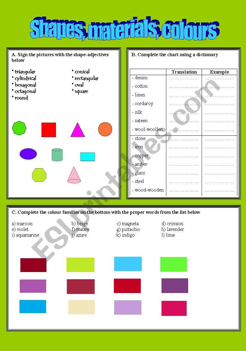 Shapes, materials and colours worksheet