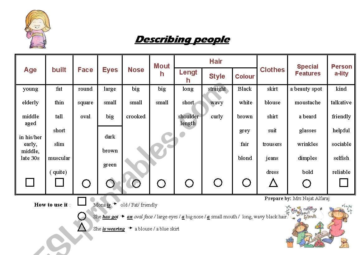 Describing people adjectives worksheet
