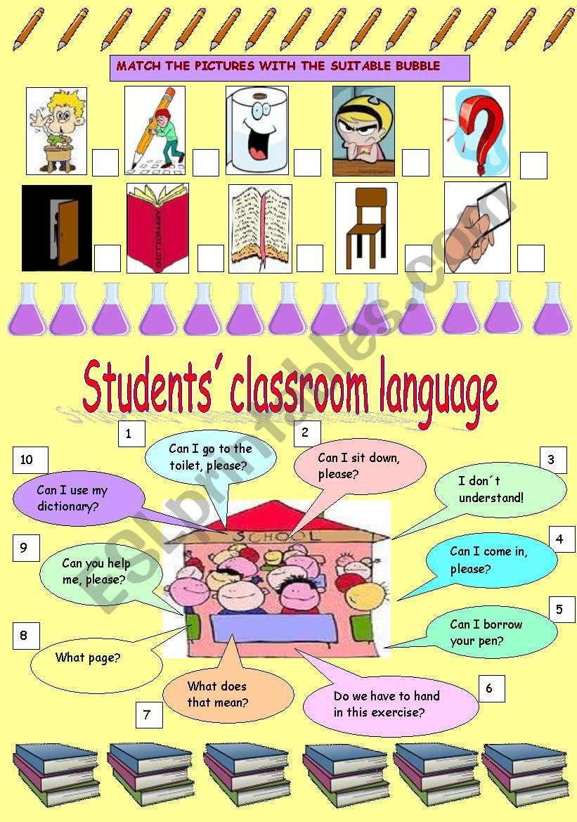 Students´classroom language worksheet
