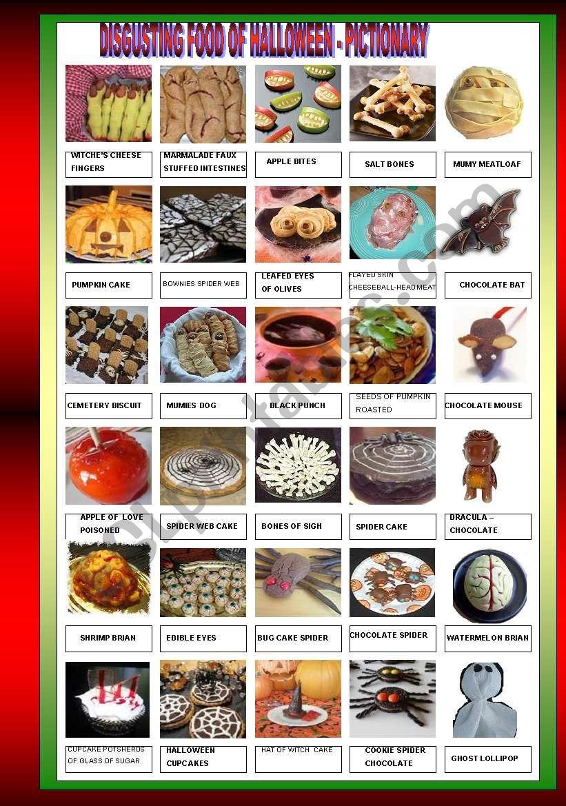 DISGUSTING HALLOWEEN FOOD - PICTIONARY