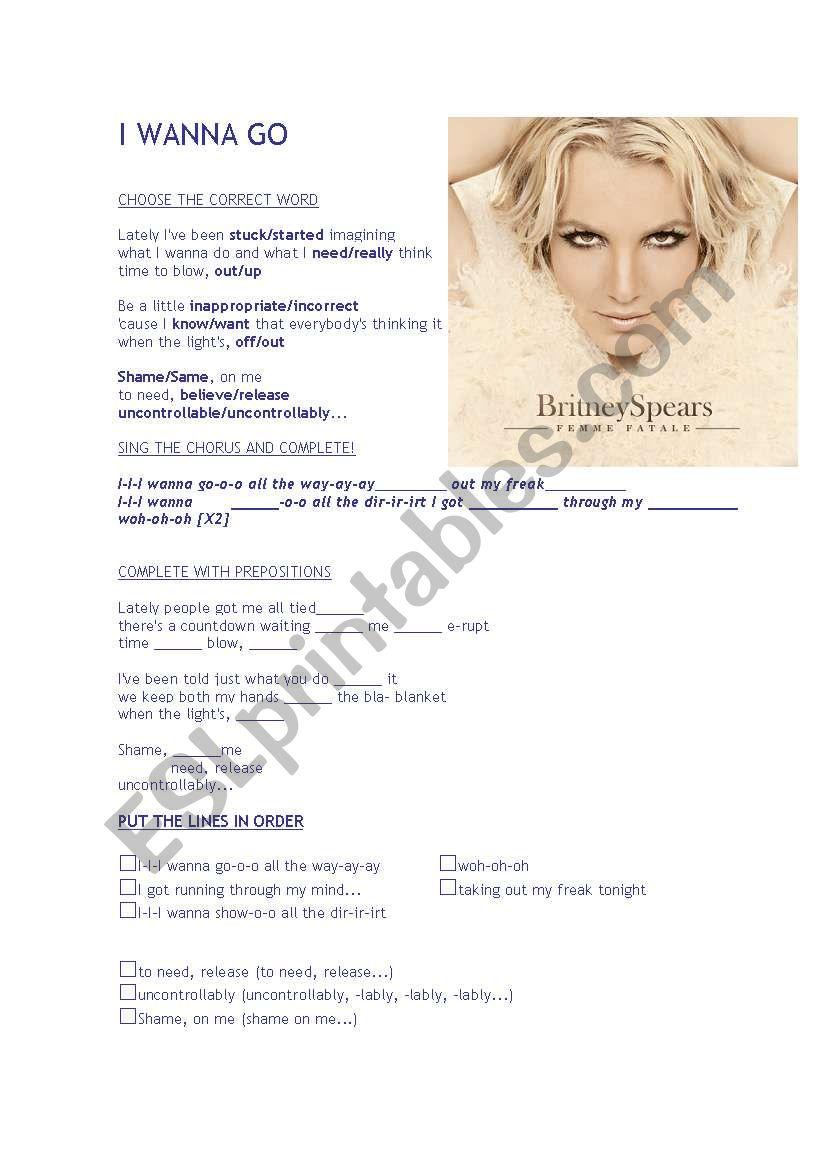 I wanna Go - Britney Spears worksheet