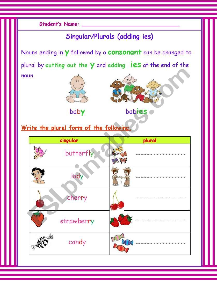 Plurals ending in y worksheet   Free ESL printable worksheets made further Plural Y   Worksheet   Education furthermore  besides Quiz on Plural of Nouns Ending in  y    TeacherVision additionally Past Tense Verbs  Words Ending in Y   Spelling Patterns likewise Search  y worksheet   Page 12   The Mailbox besides Plurals rules and practice moreover Plurals Worksheet   Words Ending In 'y' by Krazikas   Teaching besides Plural Noun Worksheets S Es And Original 1 Nouns Ending In additionally Singular and Plural Nouns Worksheets also  together with Words That End in Y   Education   Pinterest   Phonics  First grade besides singular plurals  nouns ending in y    ESL worksheet by soankry in addition Plural Words Ending in  ies   Education   Pinterest   Plural words further Year 2 Spelling Practice Adding Suffi to Words Ending with 'y as well . on nouns ending in y worksheet