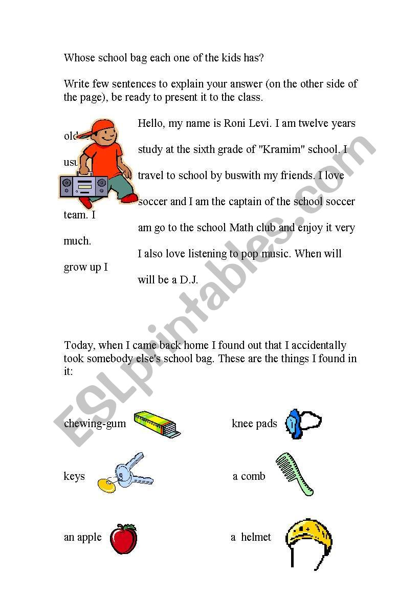 Lost and Found worksheet