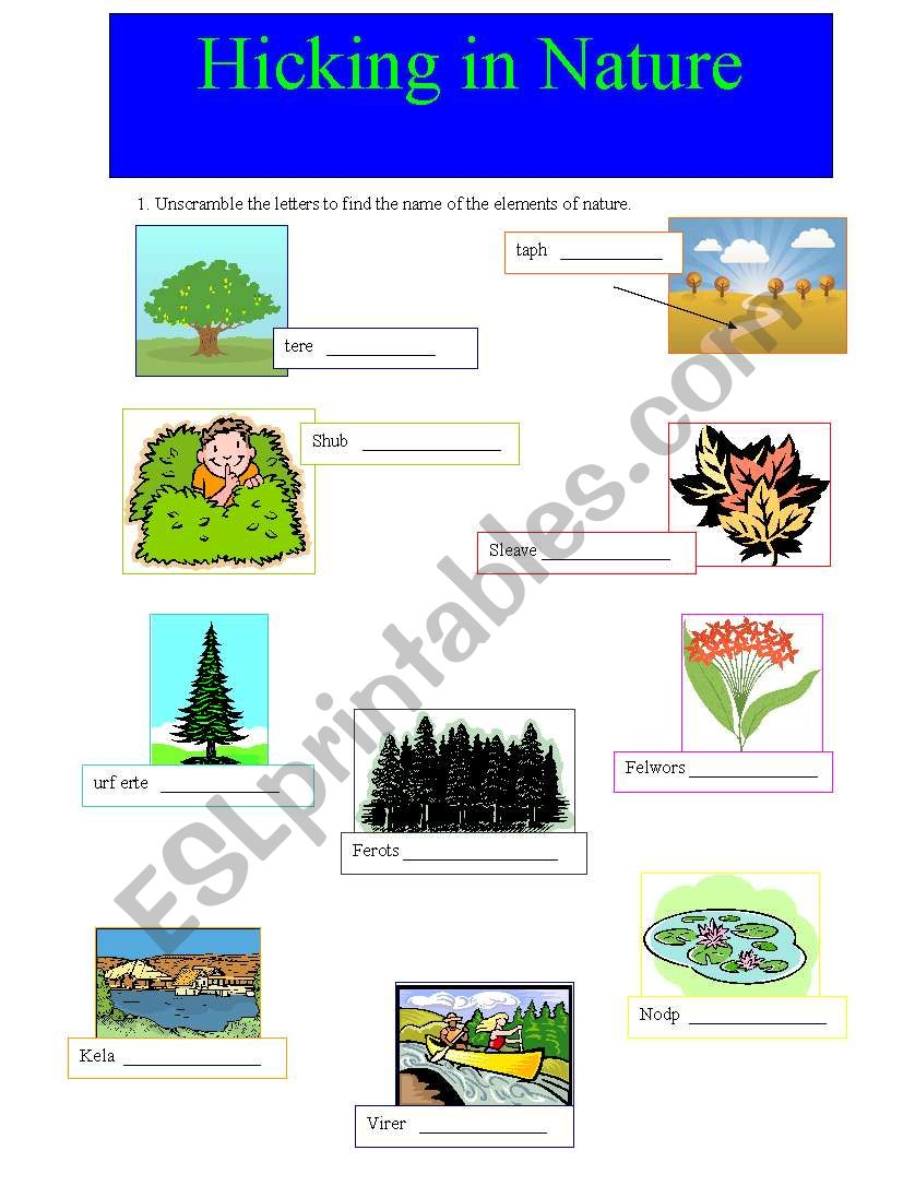 Hicking in nature worksheet