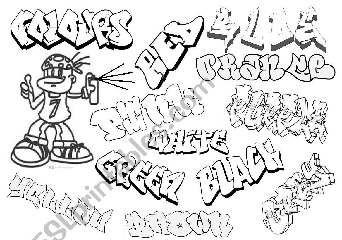Graffiti colours worksheet