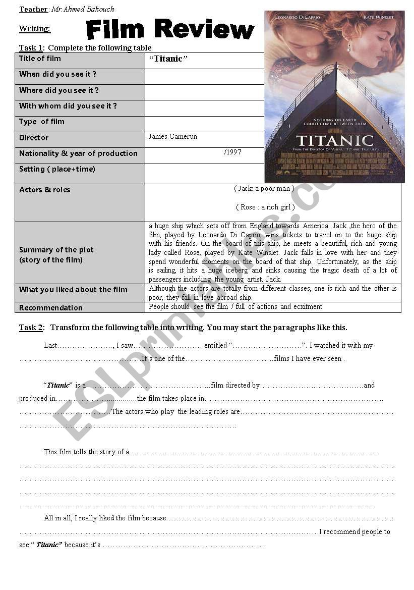 Writing: Film Review worksheet