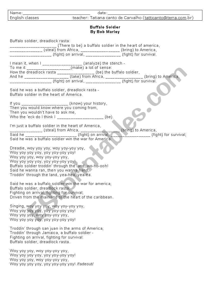 Work on verb tenses through Bob Marley´s song