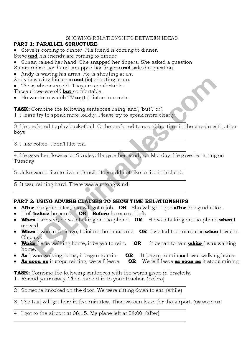 LINKERS worksheet