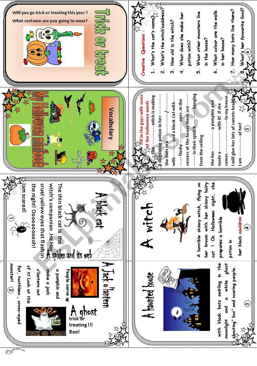 My Halloween vocabulary minibook.