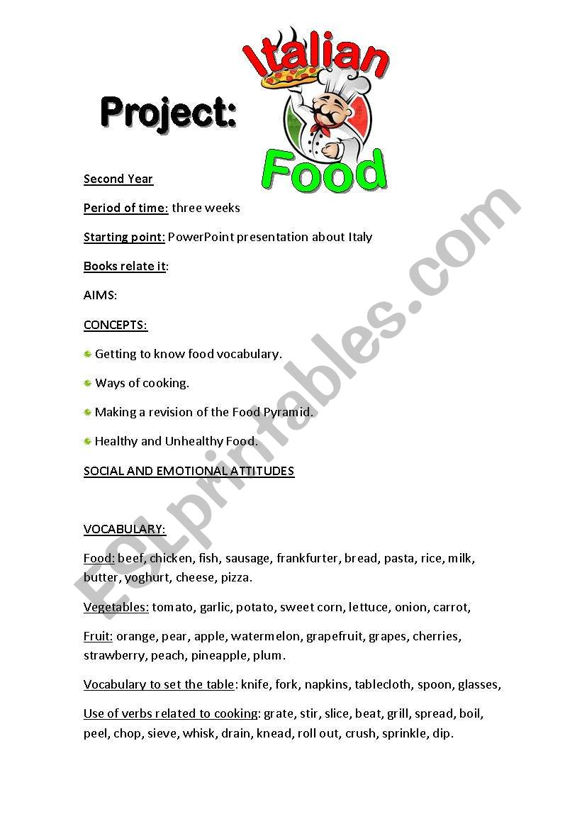 Project on Italian Food worksheet