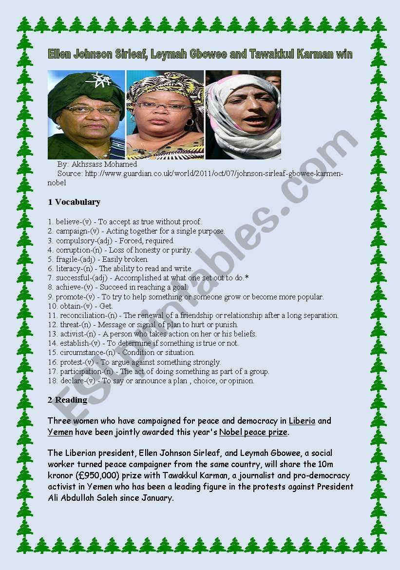 Ellen Johnson Sirleaf, Leymah Gbowee and Tawakkul Karman win Nobel prize
