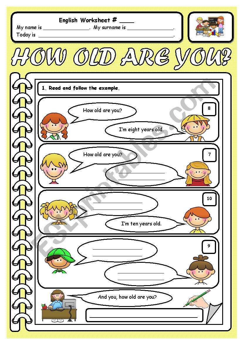 How old are you? worksheet