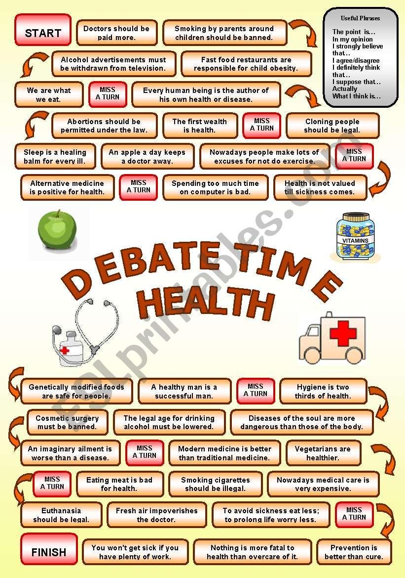 Debate time HEALTH worksheet