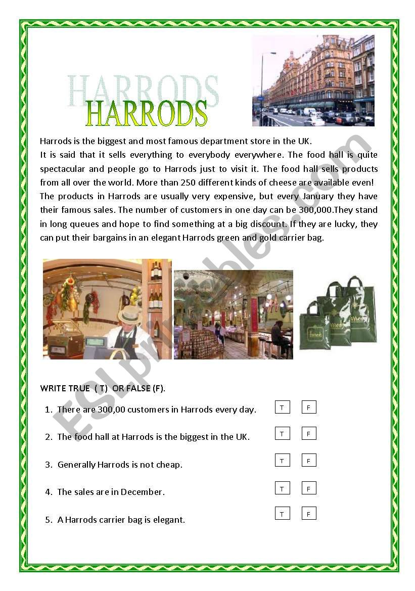 HARRODS worksheet