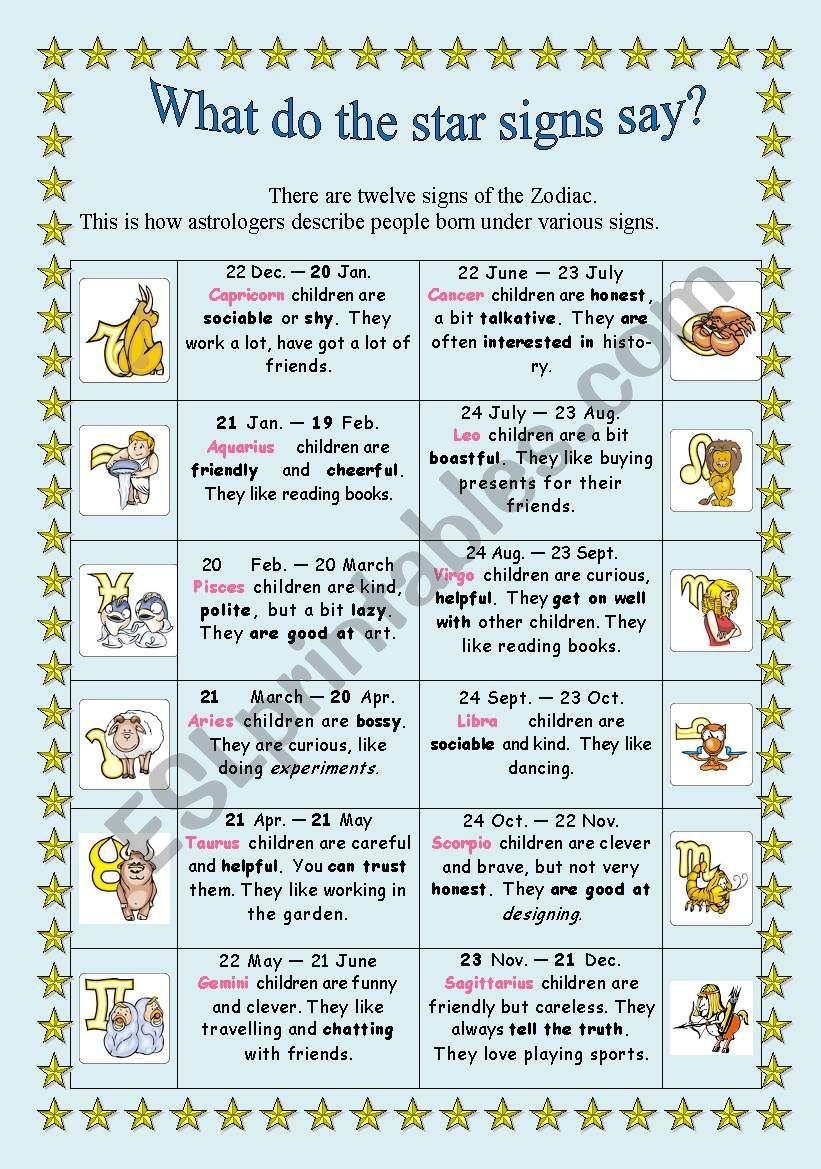 Describing people´s character worksheet
