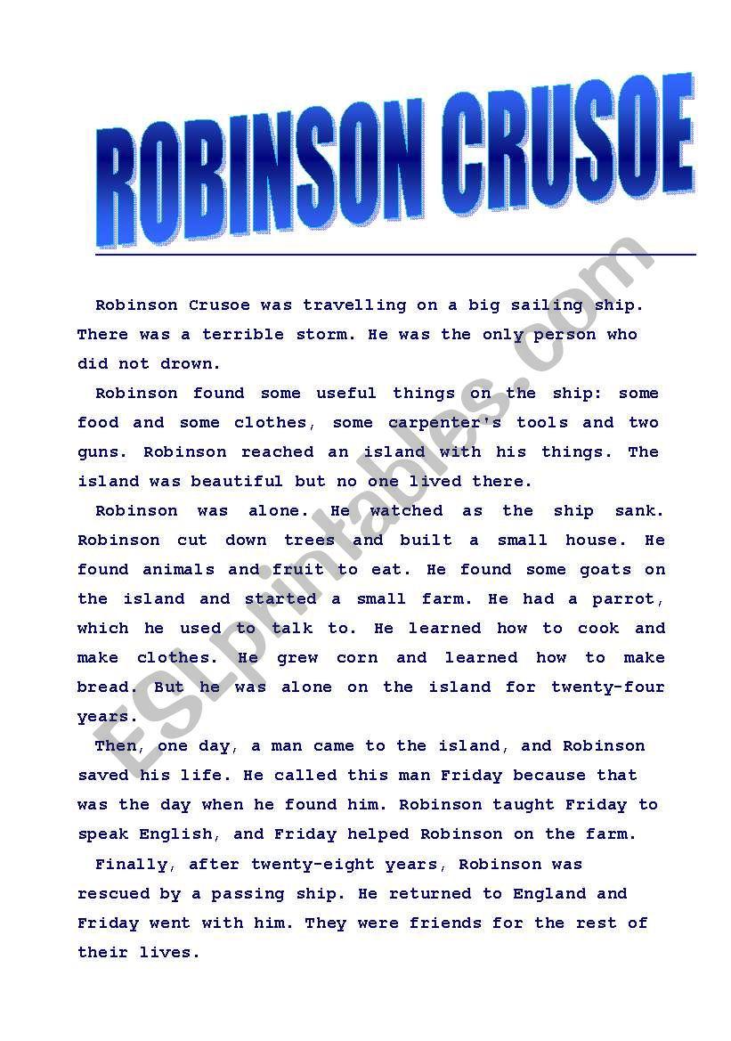 Robinson Crusoe  worksheet
