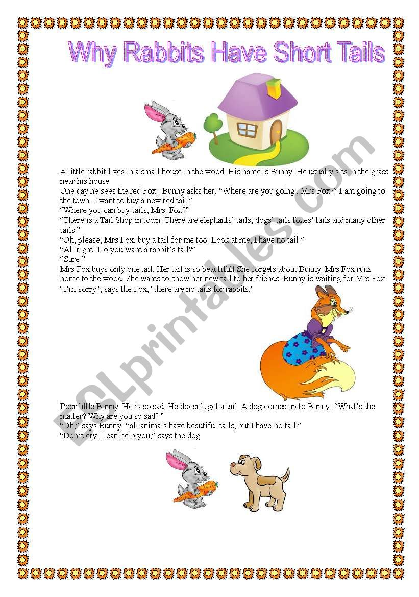 Why rabbits have short tails? worksheet