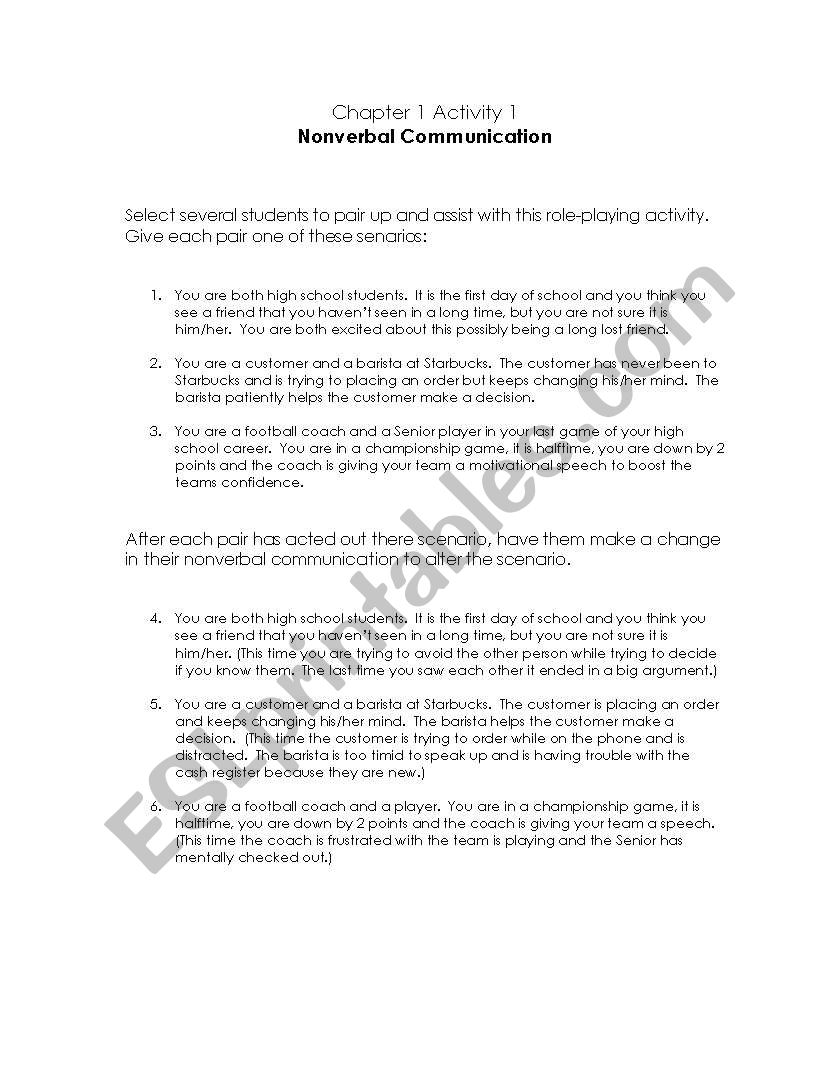 English worksheets: Non Verbal Communication