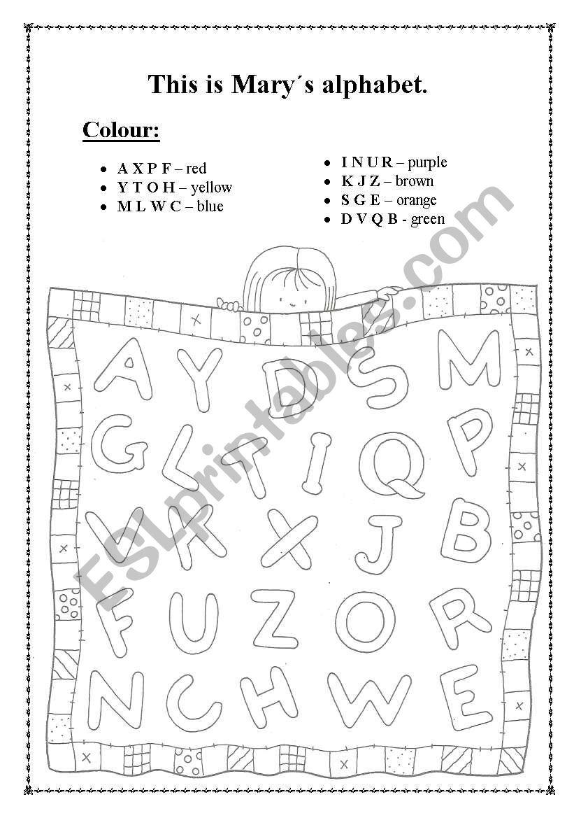 Alphabet colour. worksheet