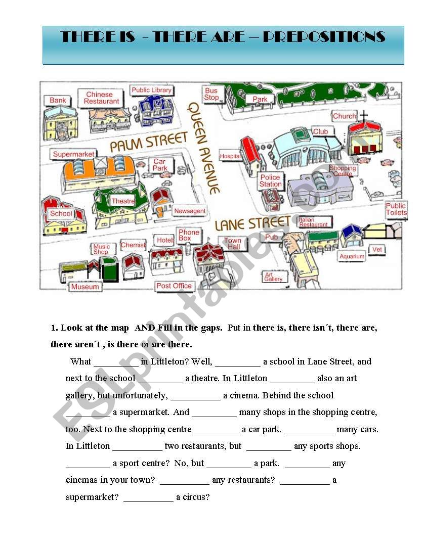 THERE IS/ARE AND PREPOSITIONS worksheet