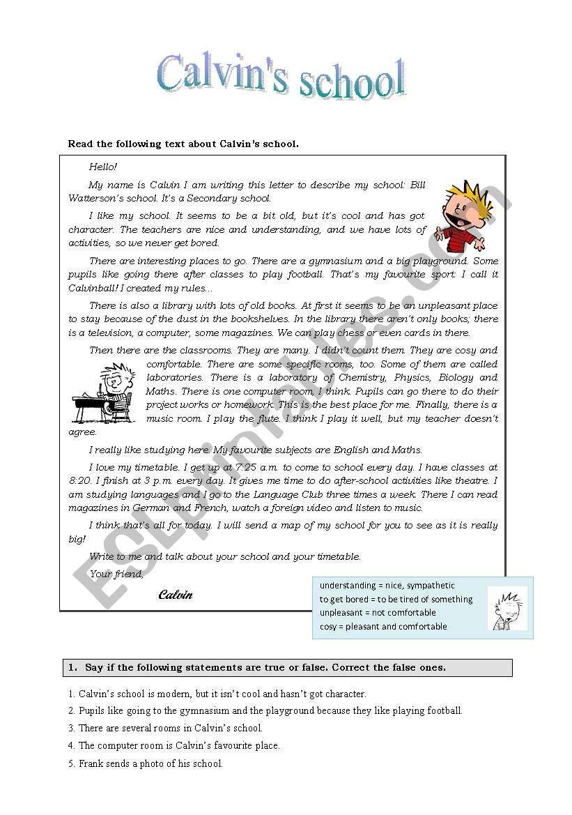 Calvin´s school worksheet