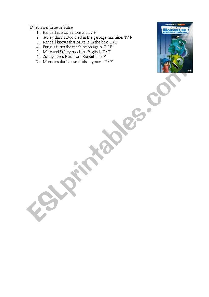Monsters Inc Movie Activity - ESL worksheet by lazyteacher