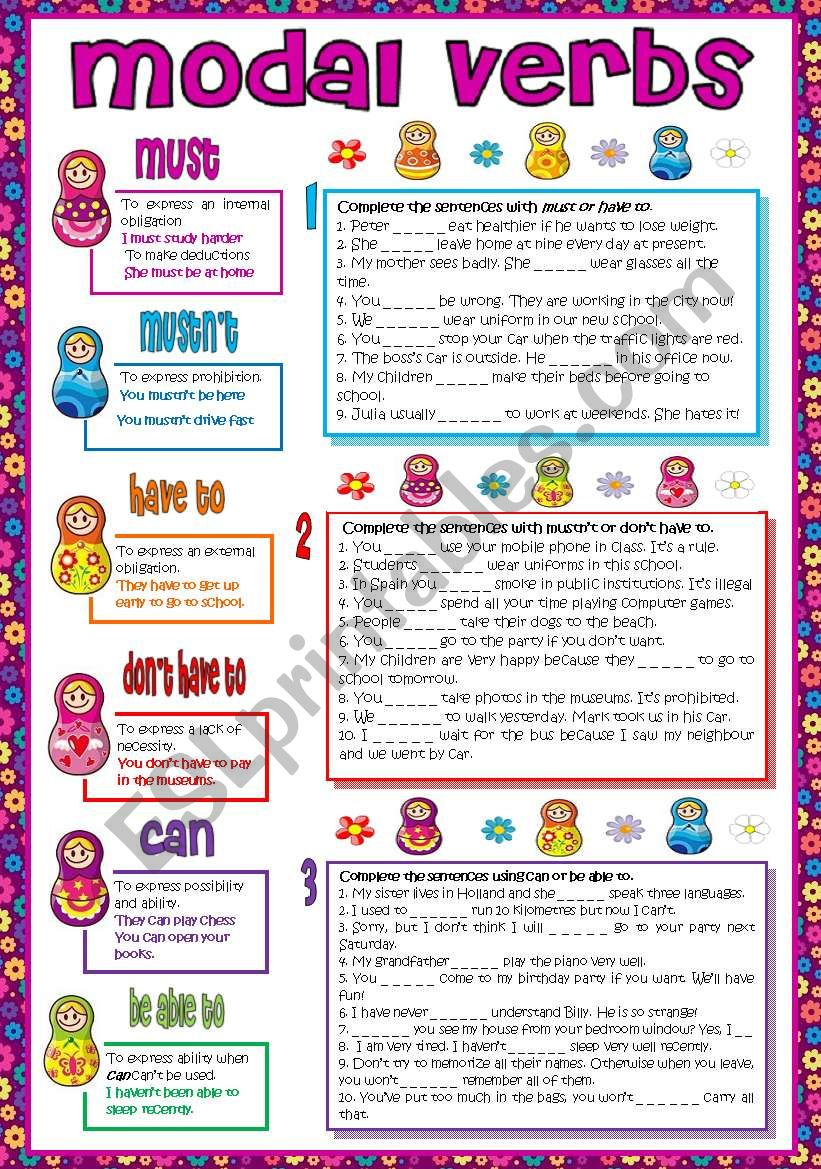 Modal verbs (must-mustn´t-have to-don´t have to-can-be able to