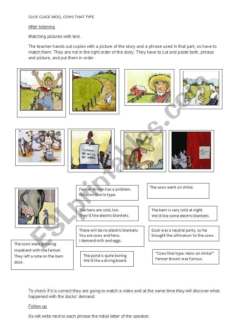 Click Clack Moo Cows That Type Esl Worksheet By Maryro1173