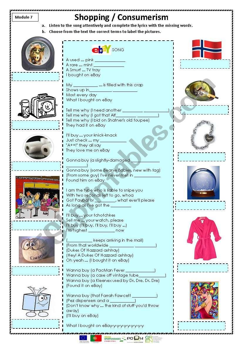 Shopping/consumerism worksheet
