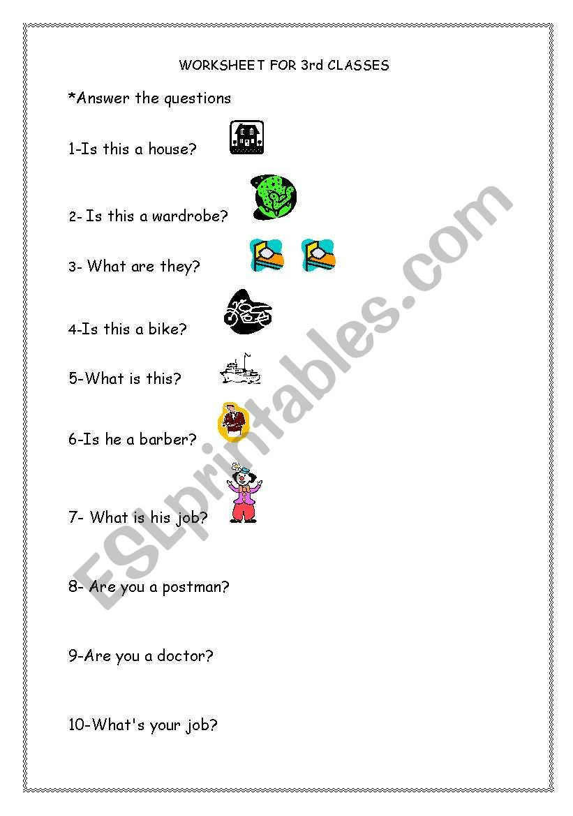 Jobs and House worksheet