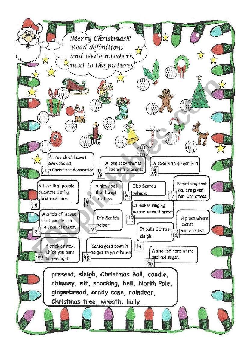 Christmas Riddles Esl Worksheet By Monika 79
