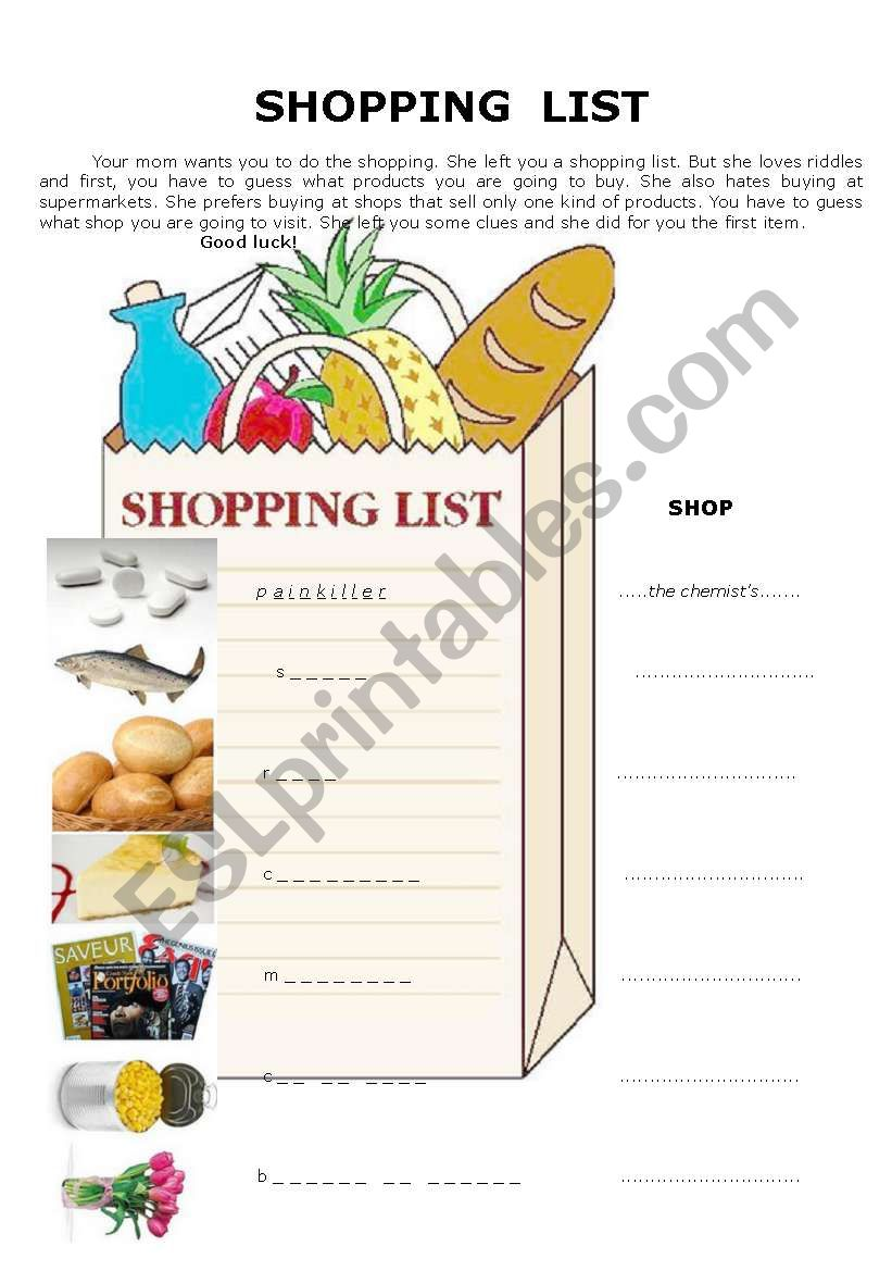 Shopping list - SHOPS and PRODUCTS (KEY included) 2 pages