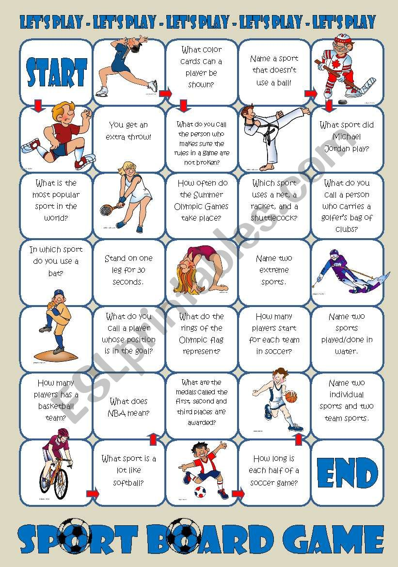Sports Board Game worksheet