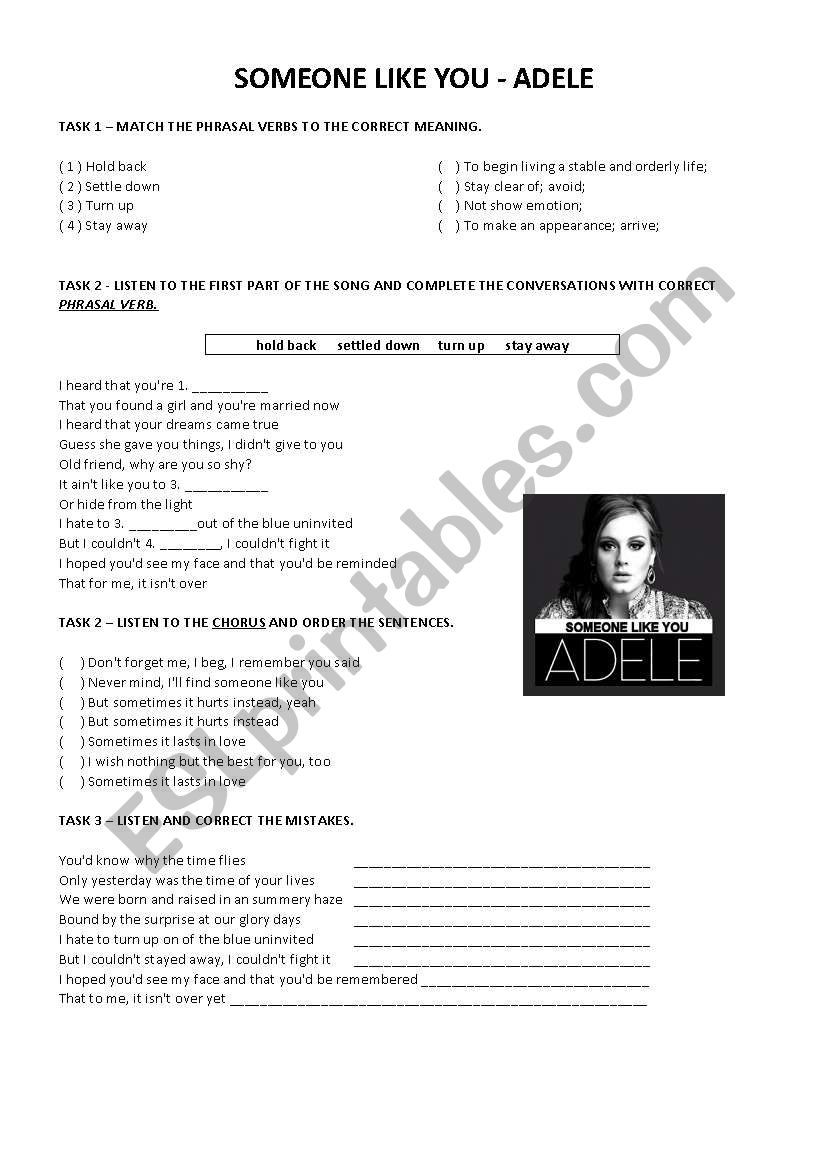 Adele - Someone like you  worksheet