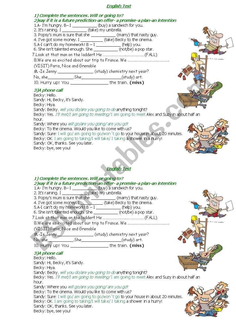 will vs. going to test worksheet