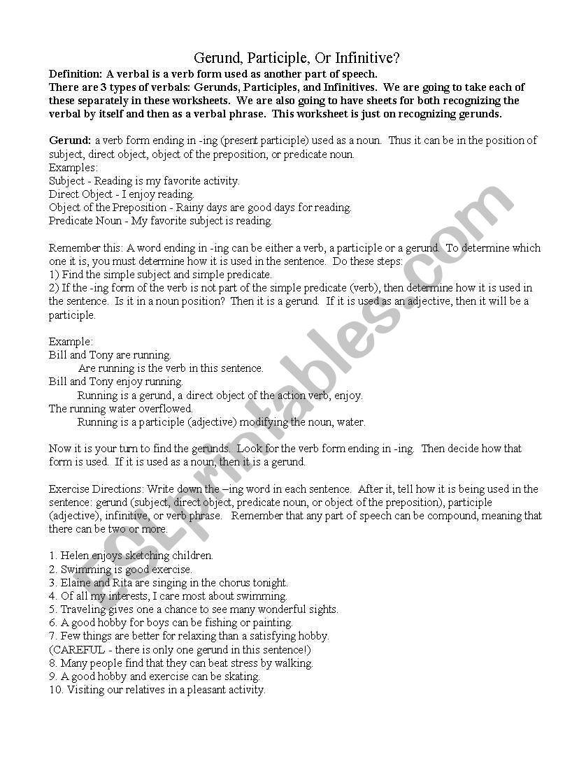 English Worksheets Verbals