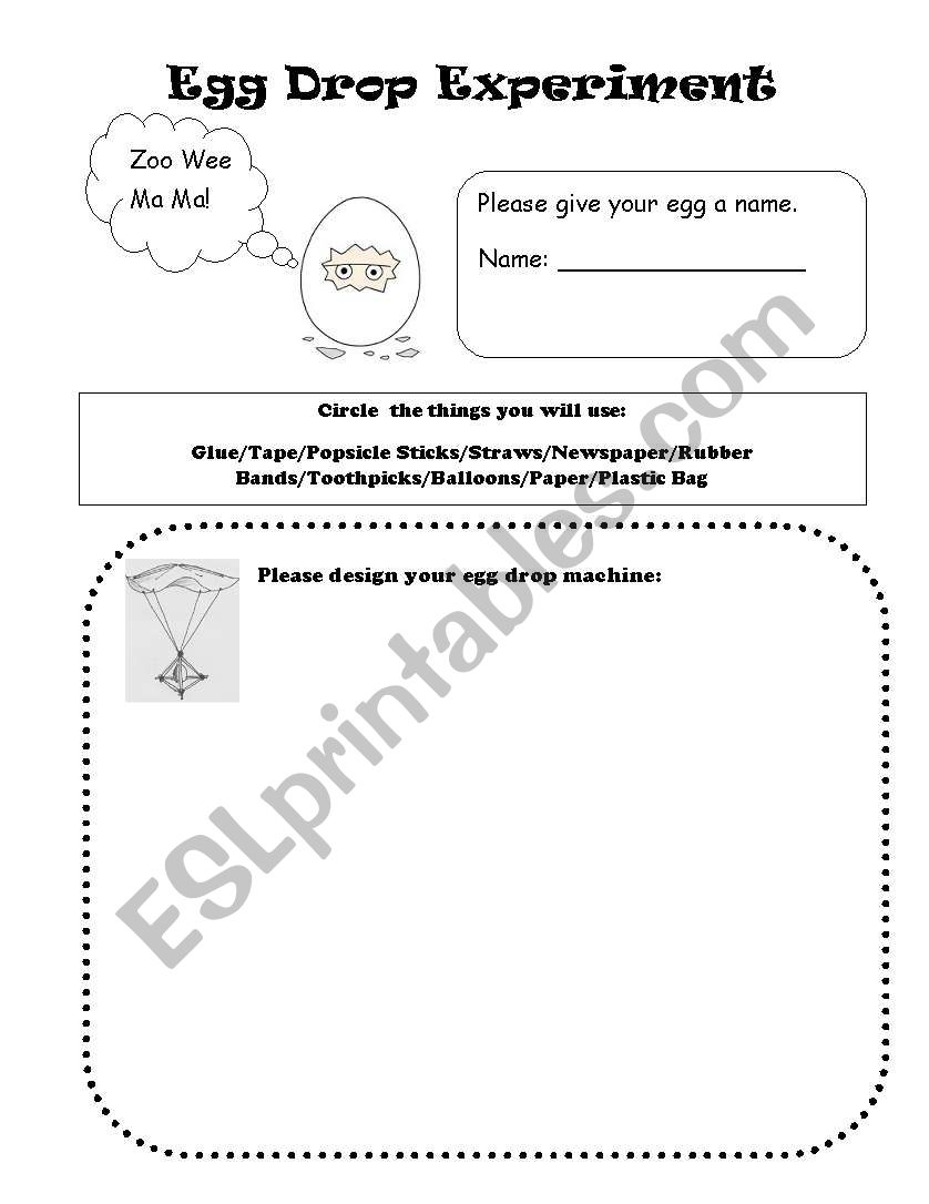 egg drop experiment worksheet kidz activities. Black Bedroom Furniture Sets. Home Design Ideas