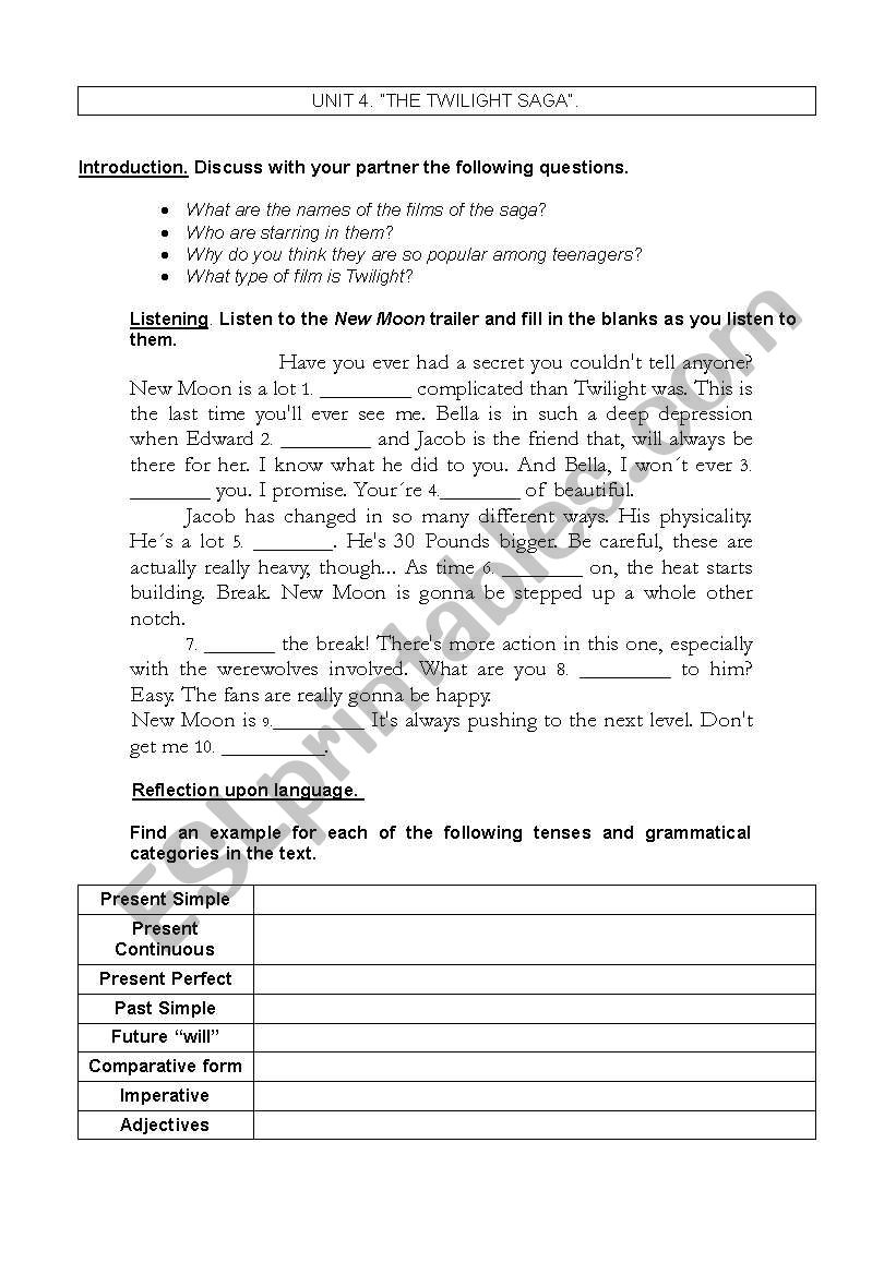 The Twilight Saga worksheet