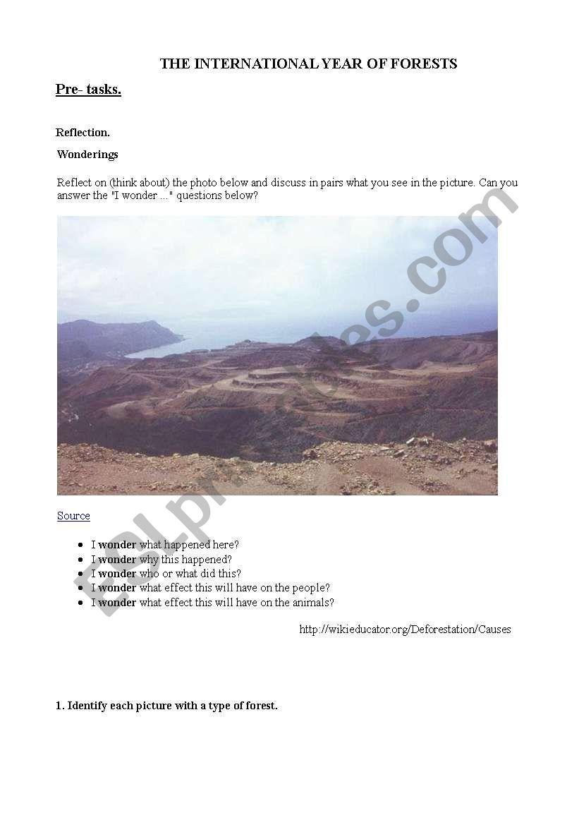Deforestation and forests worksheet