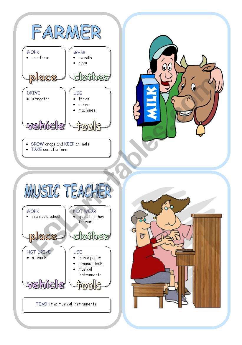 Job Cards - Set 10 worksheet