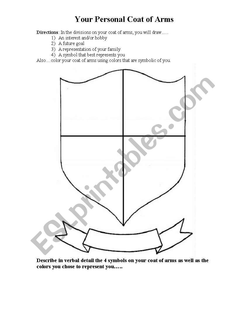 English Worksheets Personal Coat Of Arms