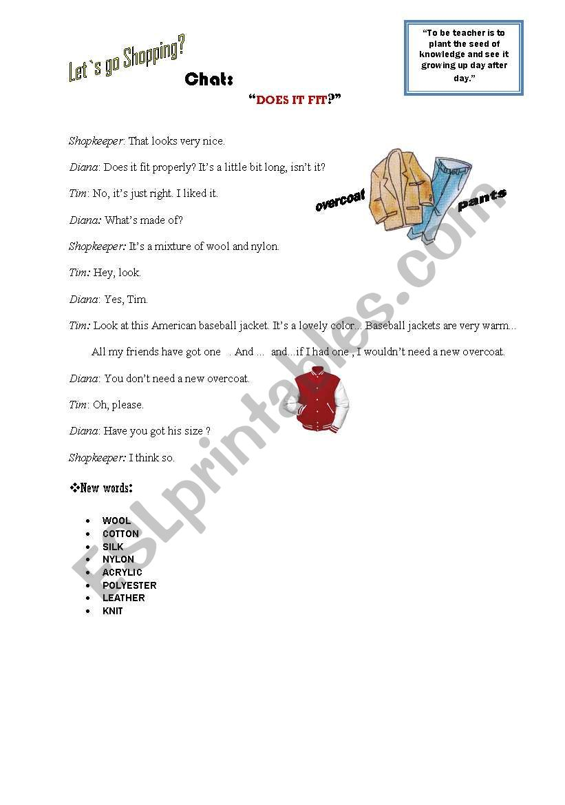 Clothes- Does it fit? worksheet