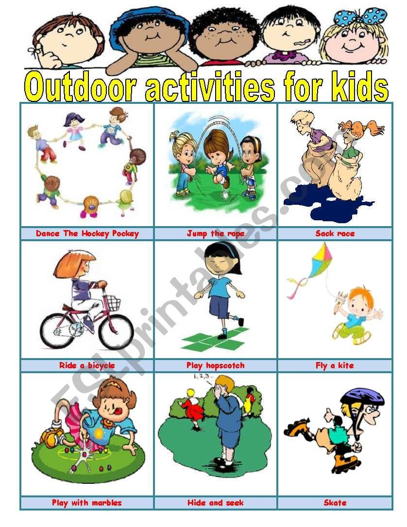 Outdoor activities for kids - ESL worksheet by ivettemoreno