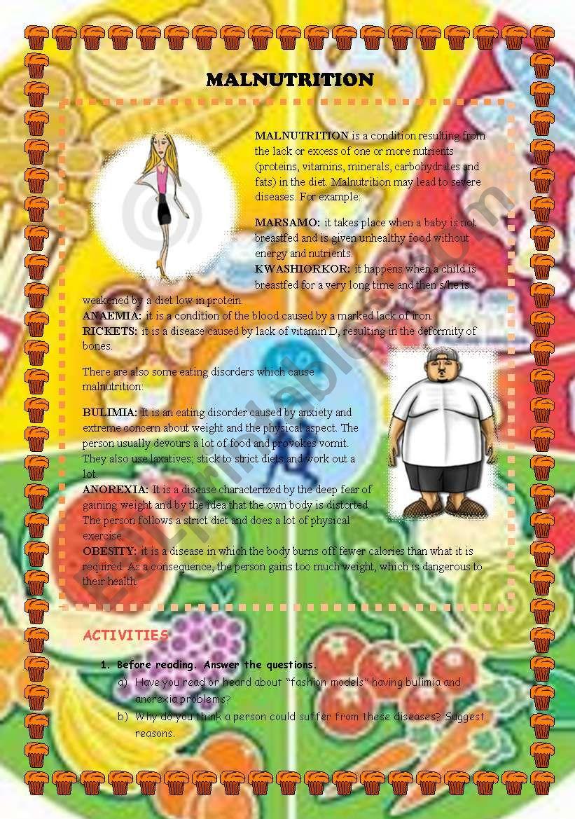 MALNUTRITION - ESL worksheet by rosariogomez