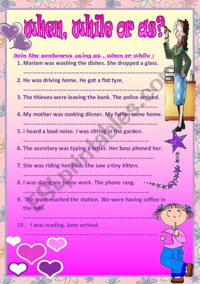 WHEN, WHILE OR AS? worksheet