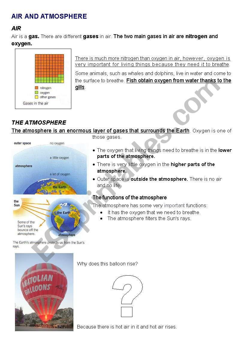 AIR AND ATMOSPHERE worksheet