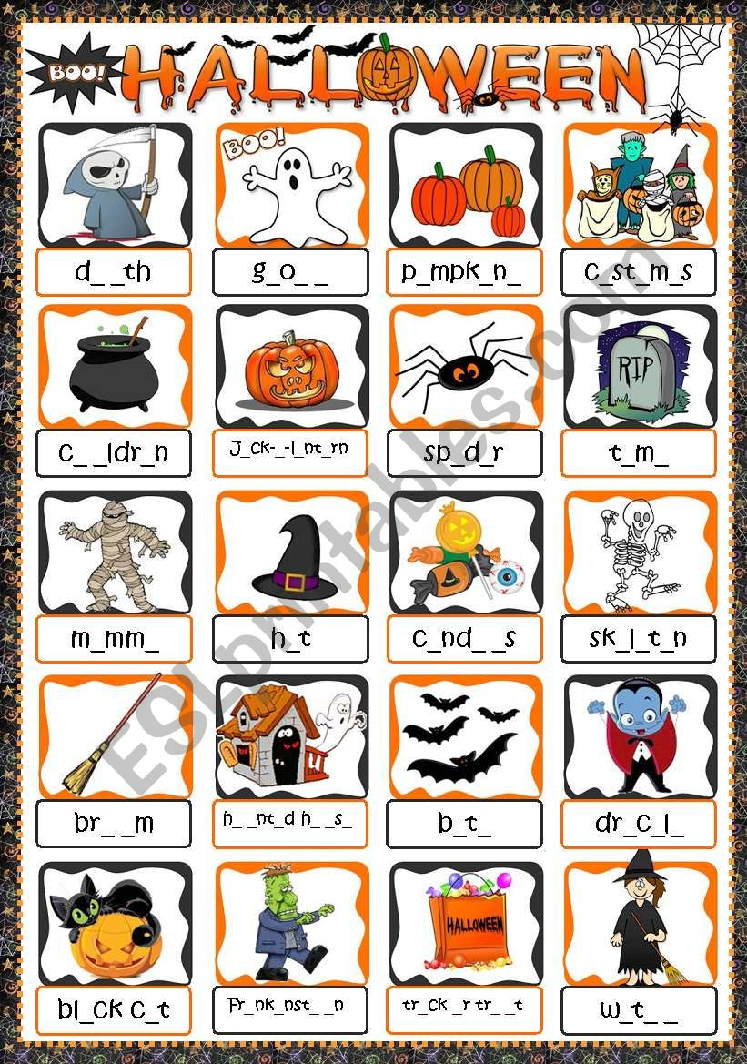 halloween - gap filling - esl worksheetmada_1