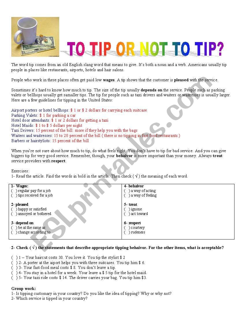 to tip or not to tip worksheet