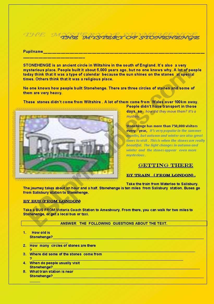 The mistery of Stonehenge worksheet