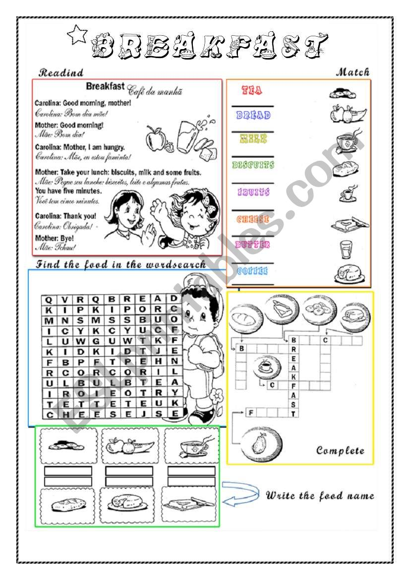 Breakfast time fun worksheet